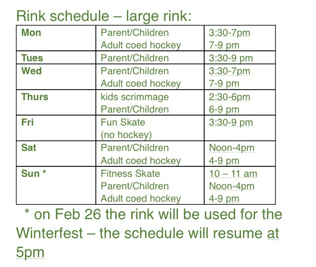 Rink Schedule Strathcona
